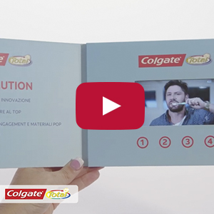 "Video Brochure - 4.3"" Screen, Multiple Videos, 4 Buttons, Card Stock - Product Example: Colgate"