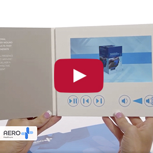 "Video Brochure - 7"" Screen, 5 Menu Buttons, Sleeve - Product Example: AERO Healthcare"