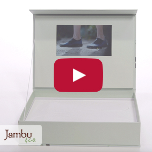 "Video Boxes:  7"" Screen, 3 Menu Buttons, Product Cut-outs - Product Example: Jambu"